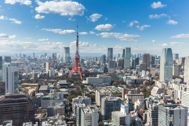 TOKYO, JAPAN - 19 FEBRUARY 2015 - The Tokyo tower in the Kanto r